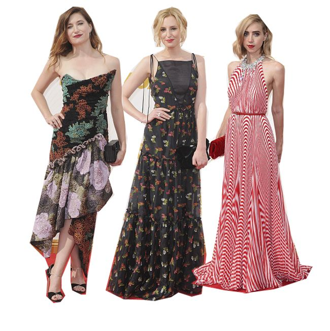 Prints on the red carpet: Kathryn Hahn in Vivienne Westwood, Laura Carmichael in Erdem and Zoe Kazan in Miu Miu.