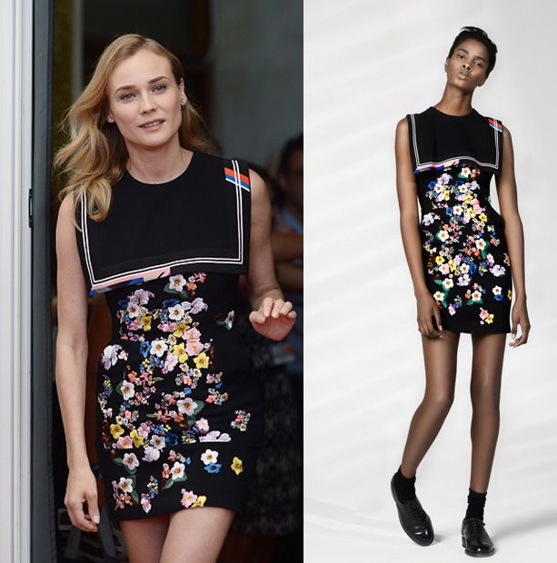 As always, we are absolutely fond of Diane Kruger's autumnal take on Preen Resort 2016 floral prints!