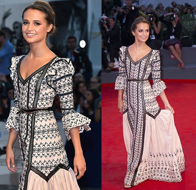 Alicia Vikander, attends a premiere for 'A Danish Girl' during the 72nd Venice Film Festival at on September 5, 2015 in Venice, Italy. (Photo by Stefania D'Alessandro/WireImage)