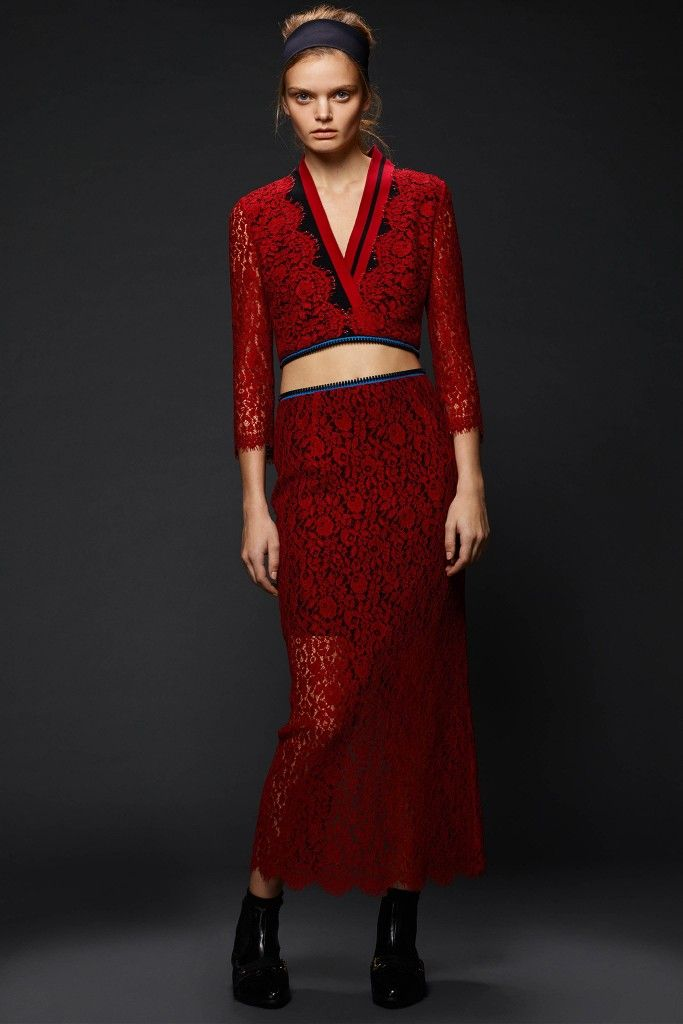 Sloane red lace midi dress available at NET-A-PORTER and MATCHESFASHION.com