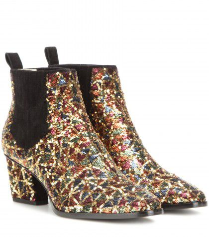 Roger Vivier's Skyscraper sequin-embellished ankle boots, available at MYTHERESA.com