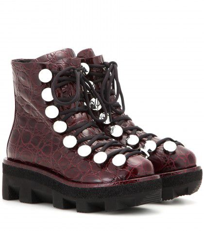 Alexander Wang burgundy crocodile-print embossed leather ankle boots available at MYTHERESA.com