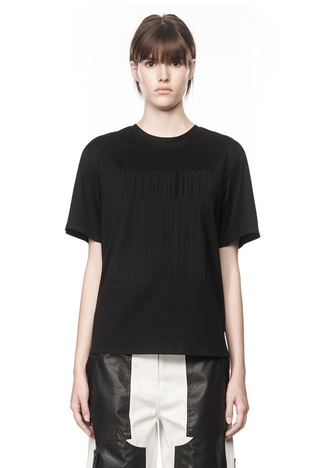 Her T-Shirt with barcode logo is available at ALEXANDERWANG.com