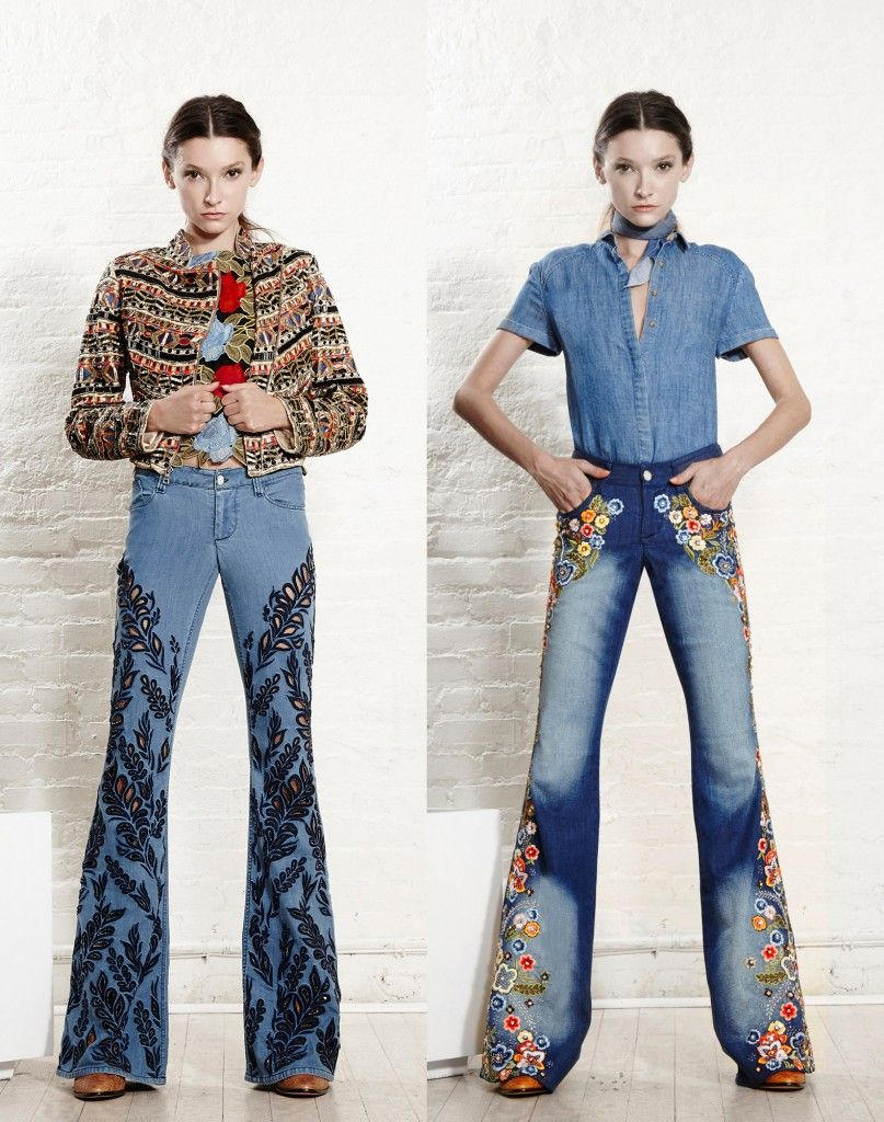 Alice + Olivia lared jeans hand-embroidered with flowers or laser-cut in a leaf pattern are just MAR-VE-LOUS!
