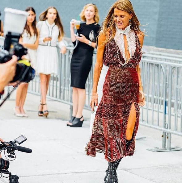 Anna dello Russo in Altuzarra SS16 Hwe swun fluted metallic devoré-georgette dress is available at NET-A-PORTER