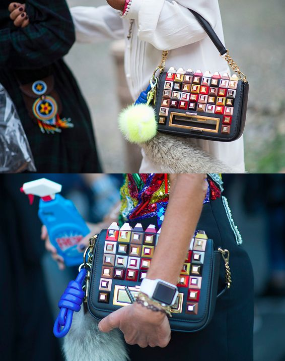 Anna dello Russo's Fendi 3Baguette stud embellished cross body bag available at MATCHESFASHION.com