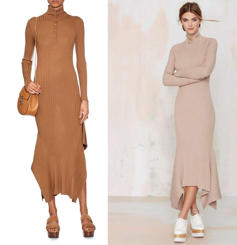 Asymmetric-hem wool-knit dress: Stella McCartney (available at MATCHESFASHION.com) or Nasty Gal (available at NASTYGAL.com)