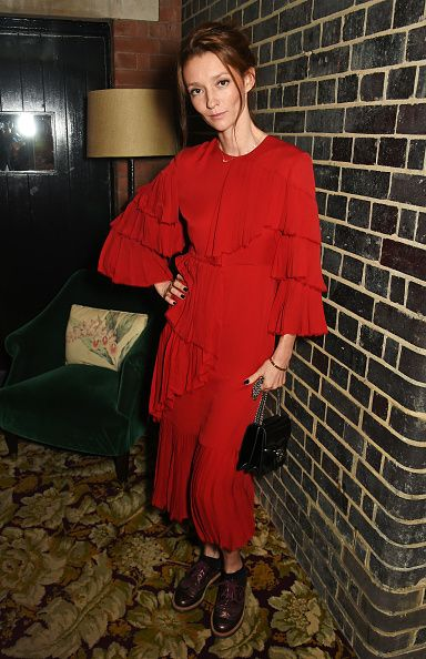 * Audrey Marnay's hibiscus red ruffled silk-georgette dress is available at NET-A-PORTER