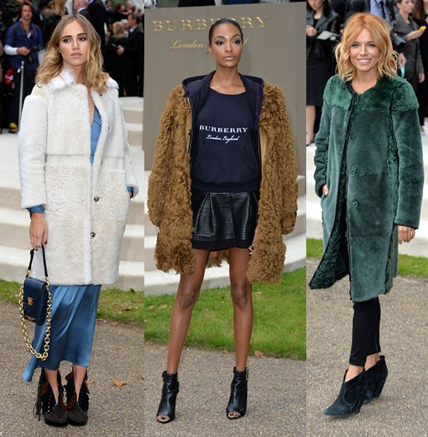Suki Waterhouse, Jourdan Dunn and Sienna Miller wearing Fall Winter 2015 shearling coats