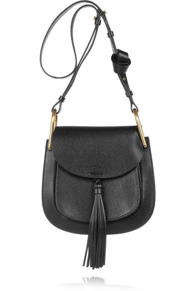 Chloé Hudson Medium tasseled black textured-leather shioulder bag available at NET-A-PORTER