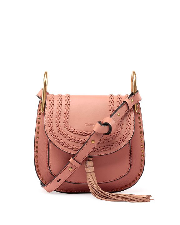 Chloé Hudson tassel trim rosé leather shoulder bag available at