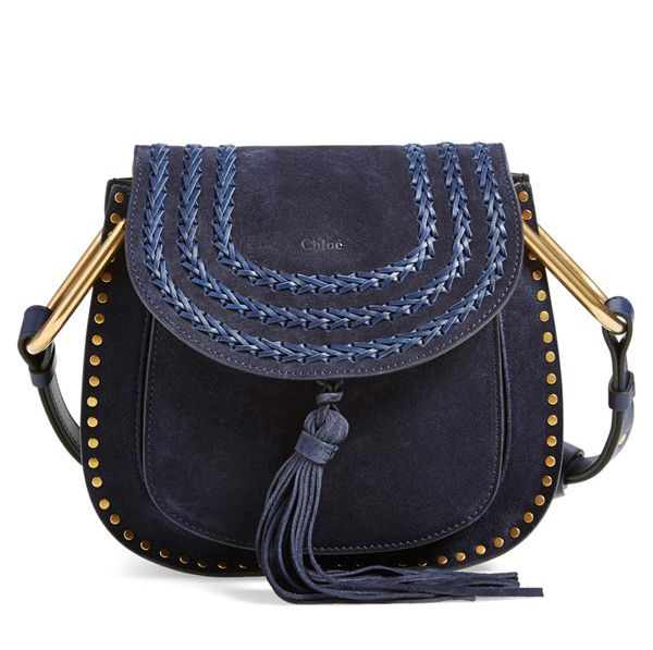 Small Hudson deep blue suede shoulder bag available at NORDSTROM.com