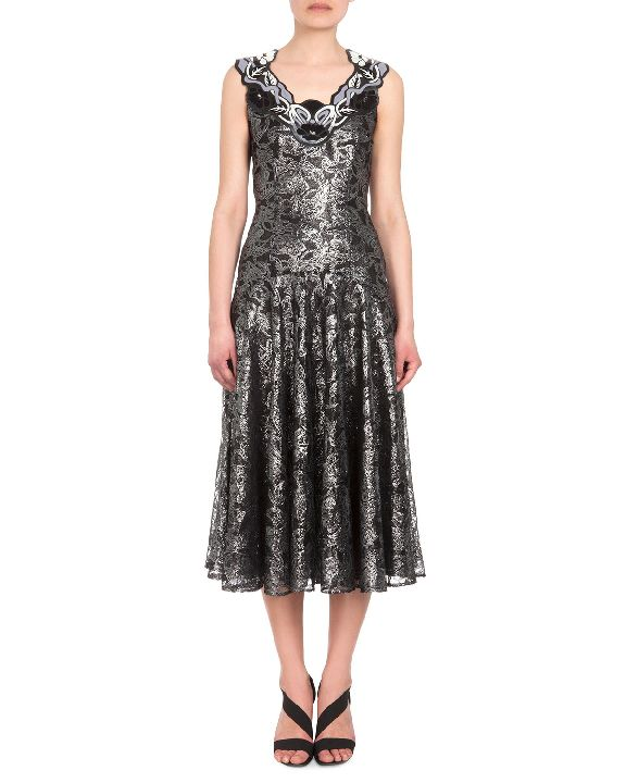 Christopher Kane embellished neck silver lace dress available at NEIMAN MARCUS