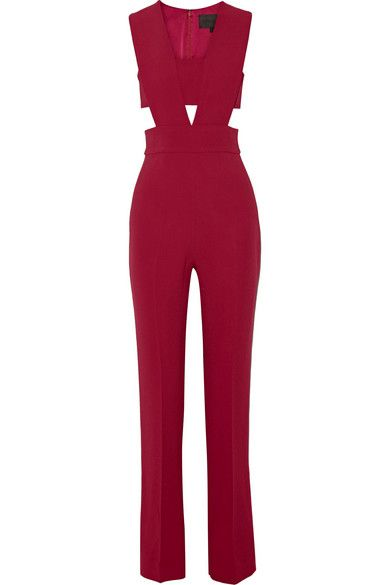 Her scarlet red jumpsuit is available at NET-A-PORTER and SHOPBOP.com