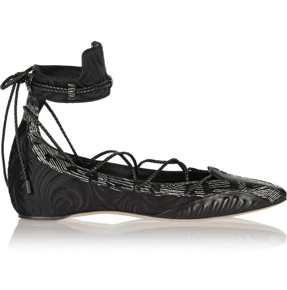 Diane is wearing Daniele Michetti's lace-up point-toe flats