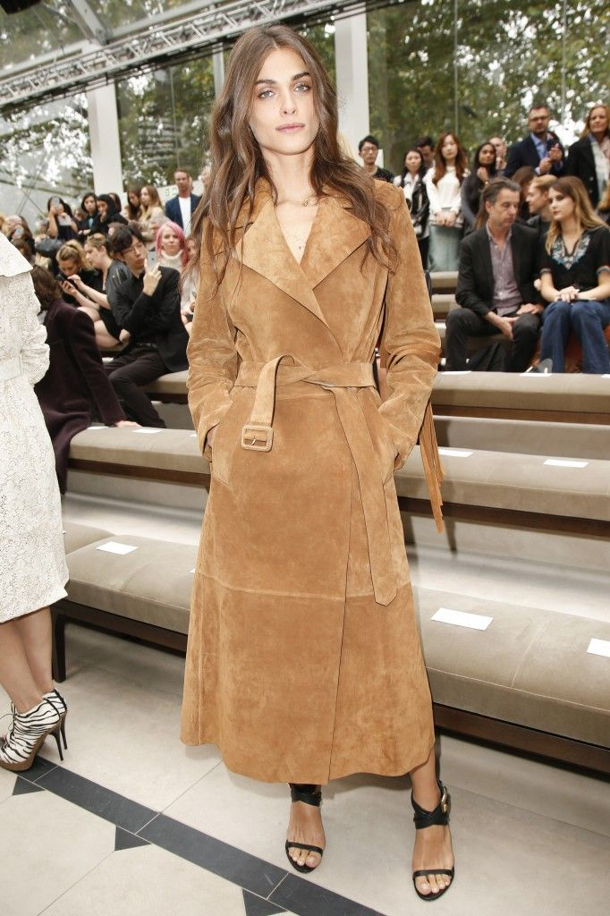 Elisa Sednaoui's camel suede fringed trench coat is available at NET-A-PORTER