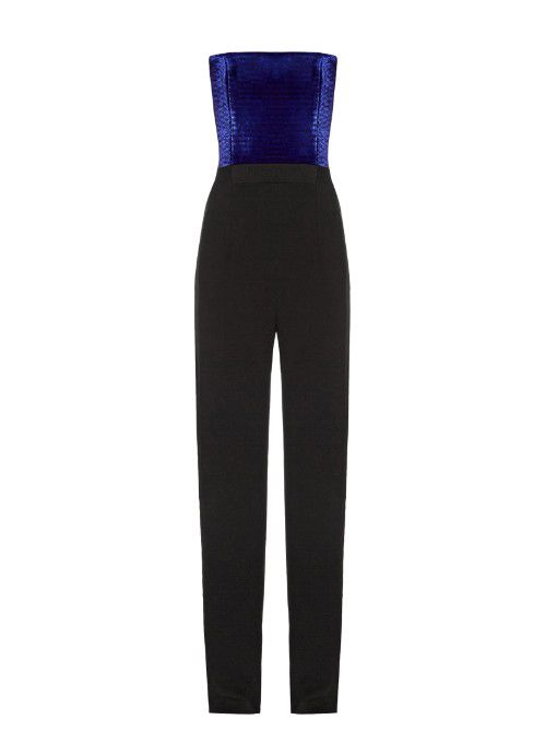 Sophie's contrast-panel strapless jumpsuit by Galvain is available at MATCHESFASHION.com