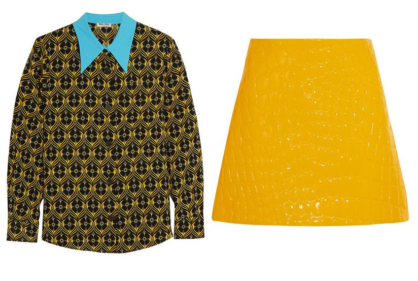 Miu Miu croc-effect marigold faux patent-leather mini skirt available at NET-A-PORTER