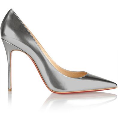 Christian Louboutin silver metallic leather pumps available at NET-A-PORTER