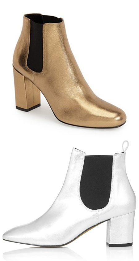 "Saint Laurent ""Babies"" Chelsea ankle boots in metallic gold leather available at NORDSTROM.com"