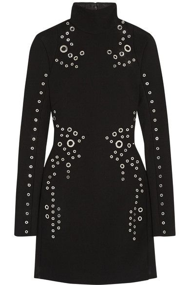 You can get her Mugler eyelet embellished wool-crepe mini dress from NET-A-PORTER