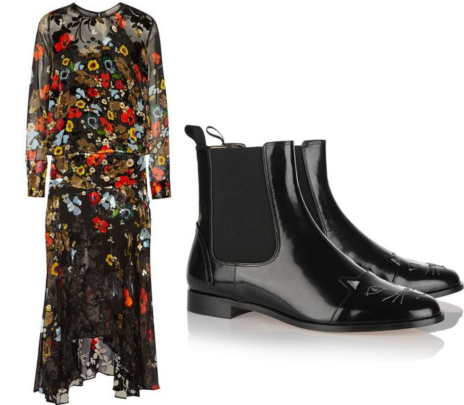 Preen poppies printed black devoré-chiffon midi dress available at NET-A-PORTER