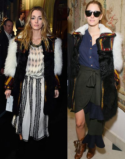 Sofia Sanchez de Betak's Chloé shearling and wool-blend jacquard coat is available at NET-A-PORTER