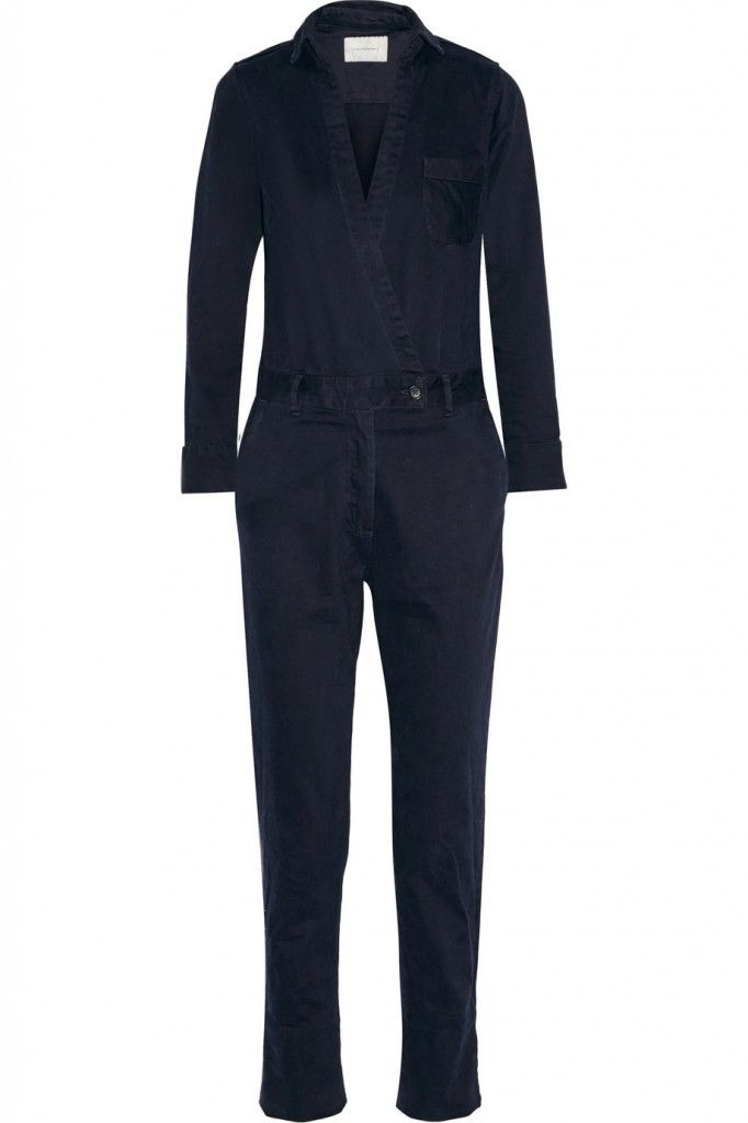 Solid and Striped wrap-effect brushed cotton-twill jumpsuit available at NET-A-PORTER