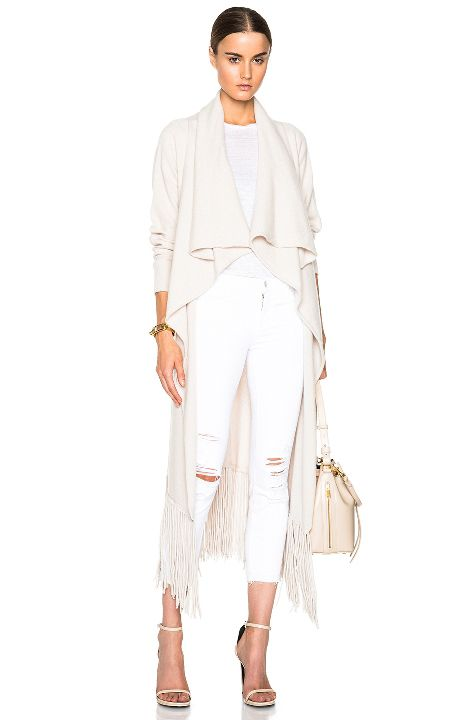 Chiara's almond cashmere fringe cardigan available at FORWARD BY ELYSE WALKER