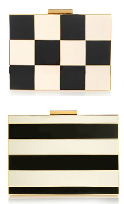 Valentino striped enamel and gold-tone box clutch available at NET-A-PORTER