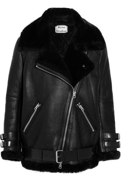 Their oversized black shearling biker jacket by Acne Studios is available at NET-A-PORTER