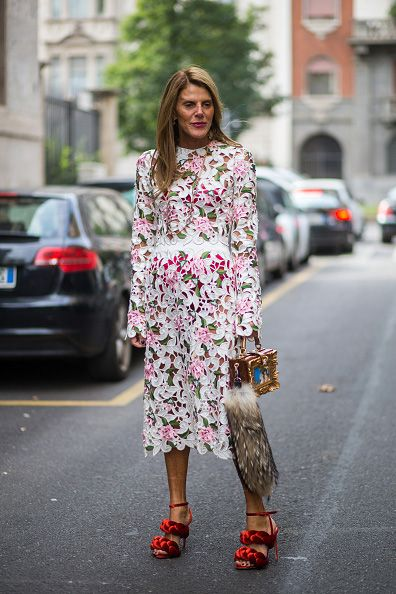 Anna dello Russo carrying a Dolce & Gabbana box bag around milan for Fashion Week SS16