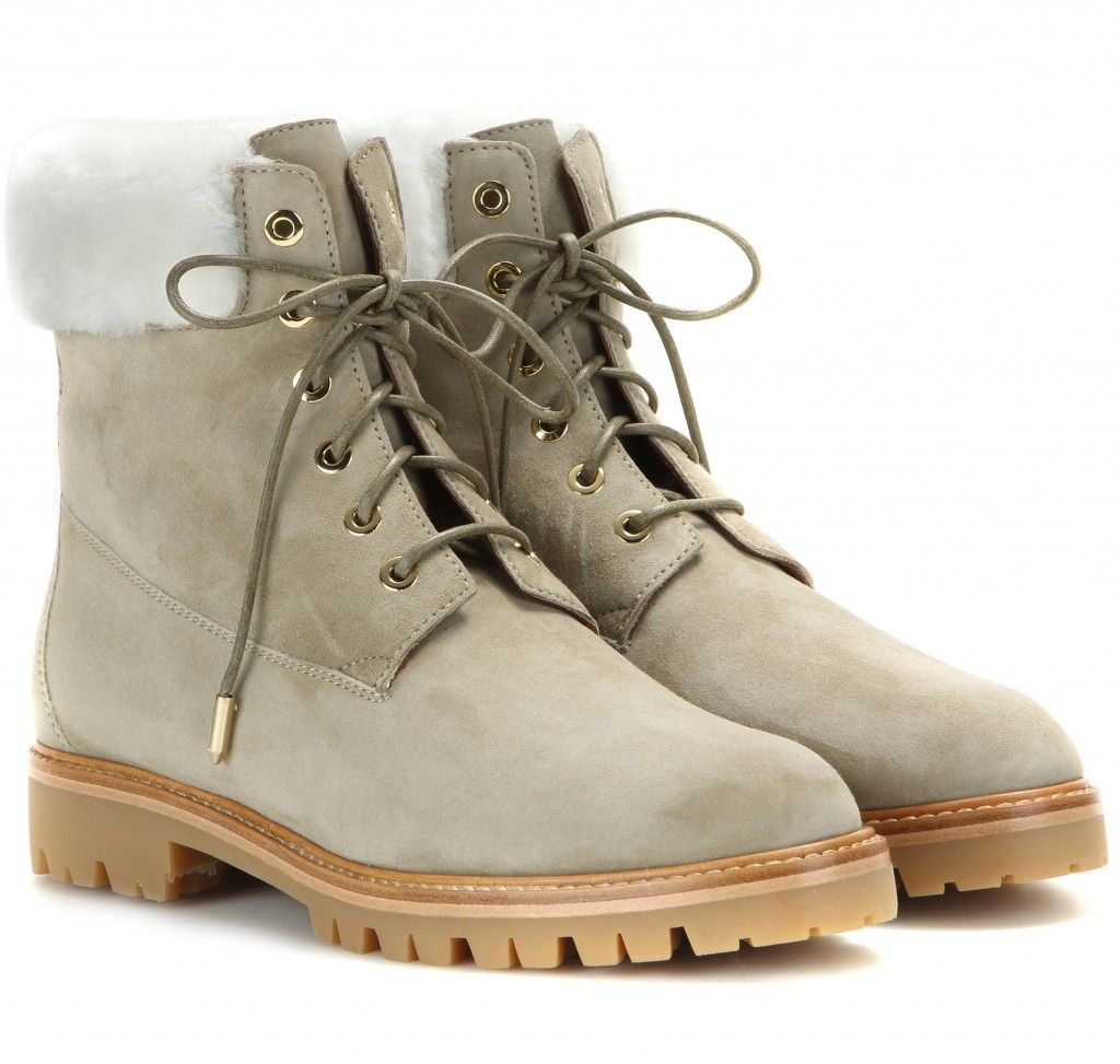 The Heilbrunner taupe leather and shearling trim winter boots available at MYTHERESA.com