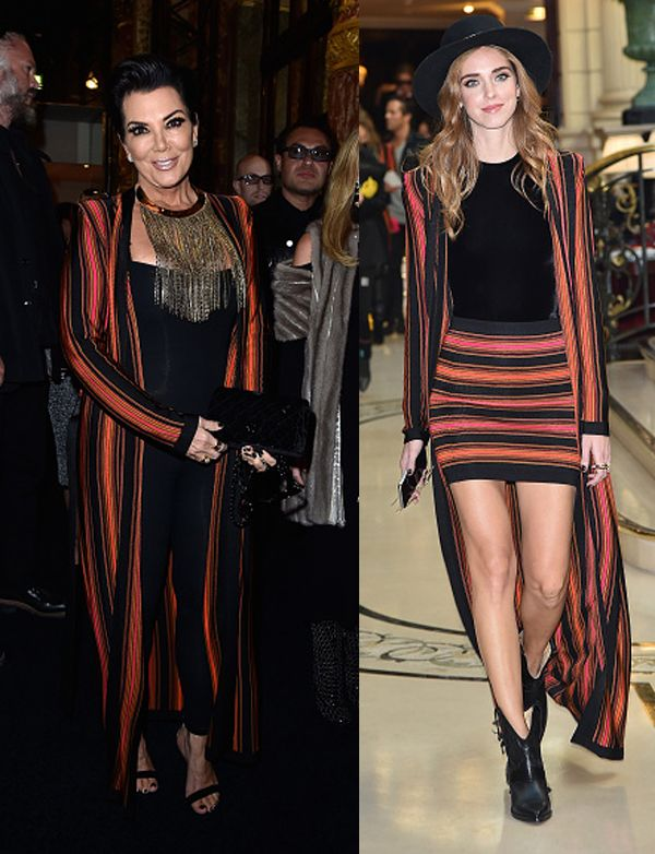 Kris Jenner and Chiara Ferragni attended the Balmain Spring Summer 2016 fashion show as part of the Paris Fashion Week Womenswear Spring/Summer 2016 on October 1, 2015 in Paris, France.