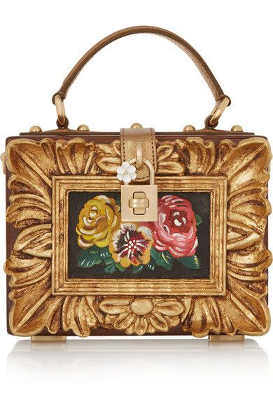 Dolce& Gabbana metallic textures leather-trimmed wood clutch available at NET-A-PORTER