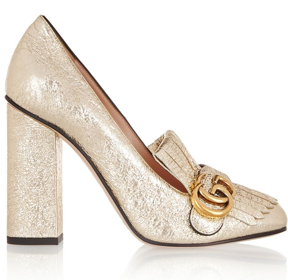 Sienna's loafer-inspired Gucci gold cracked-leather fringed pumps are available at NET-A-PORTER