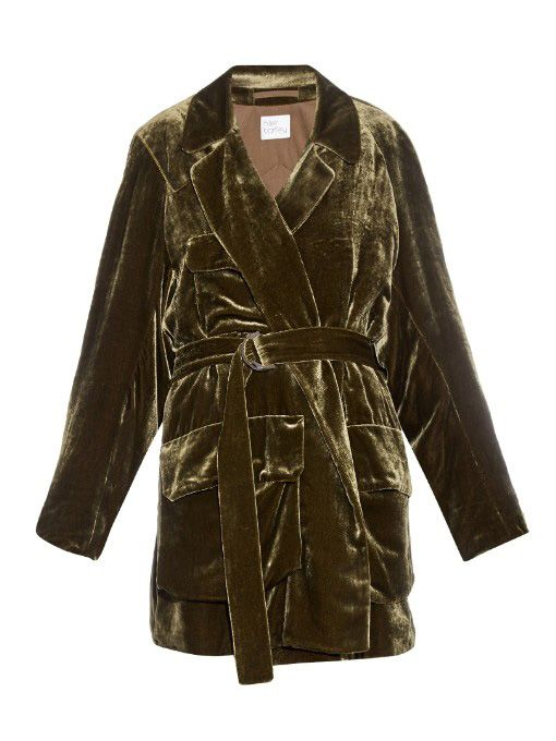 Hillier Bartley military belted velvet jacket available at MATCHESFASHION.com