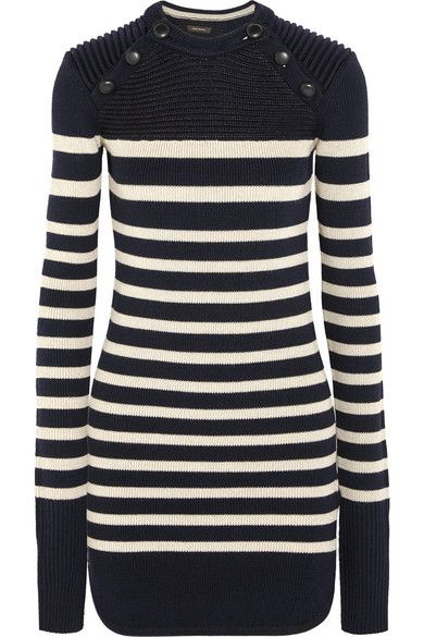 Isabel Marant striped merino wool-blend mini sweater available at NET-A-PORTER