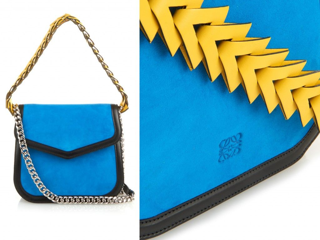 Loewe bluse suede cross-body bag with yellow leather strap and black leather trims available at MATCHESFASHION.com