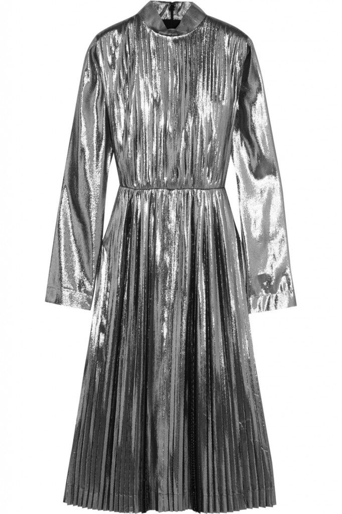 loewe-pleated-gunmetal-lame-and-silk-blend-dress