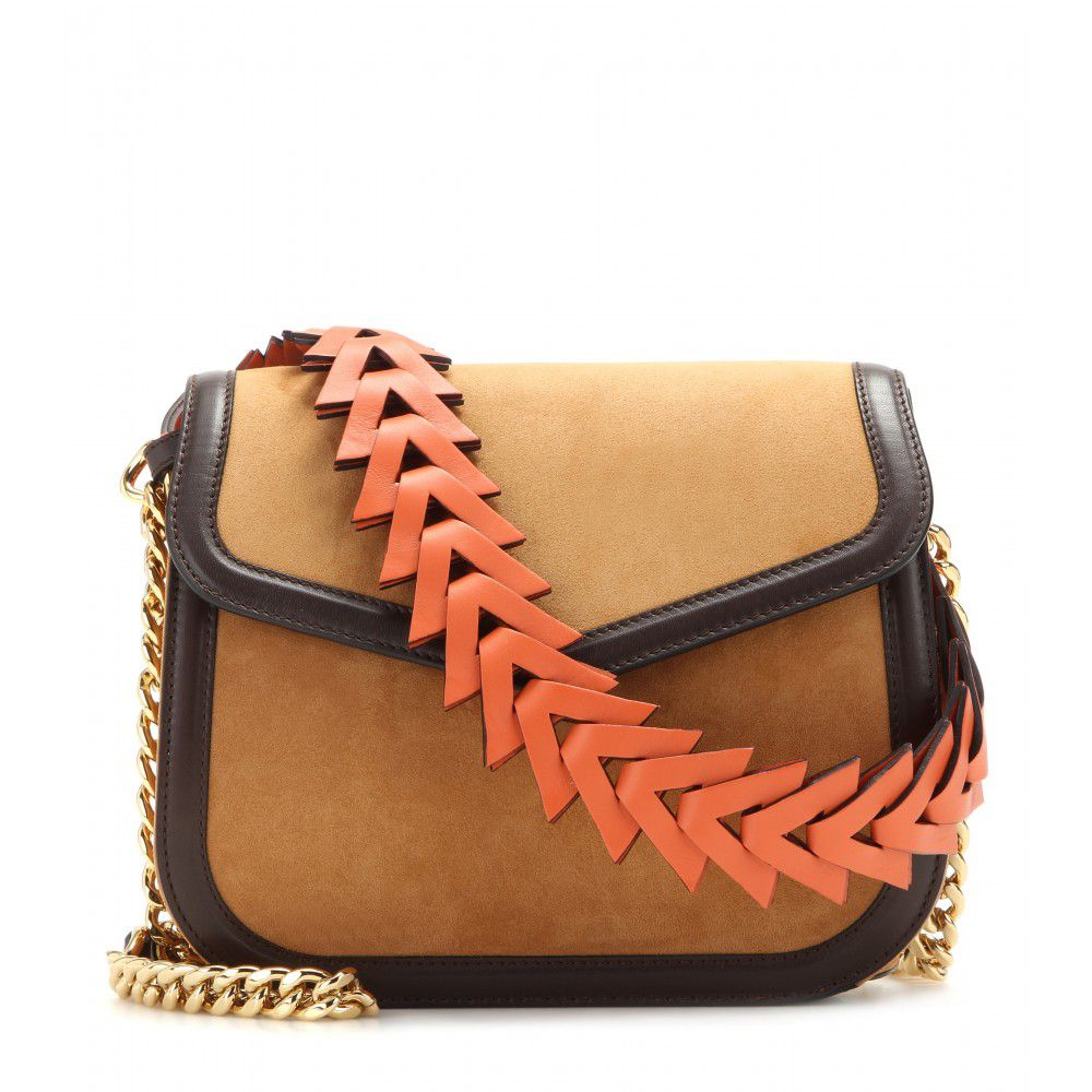 Loewe V camel and bright orange suede and leather shoulder bag available at MYTHERESA.com