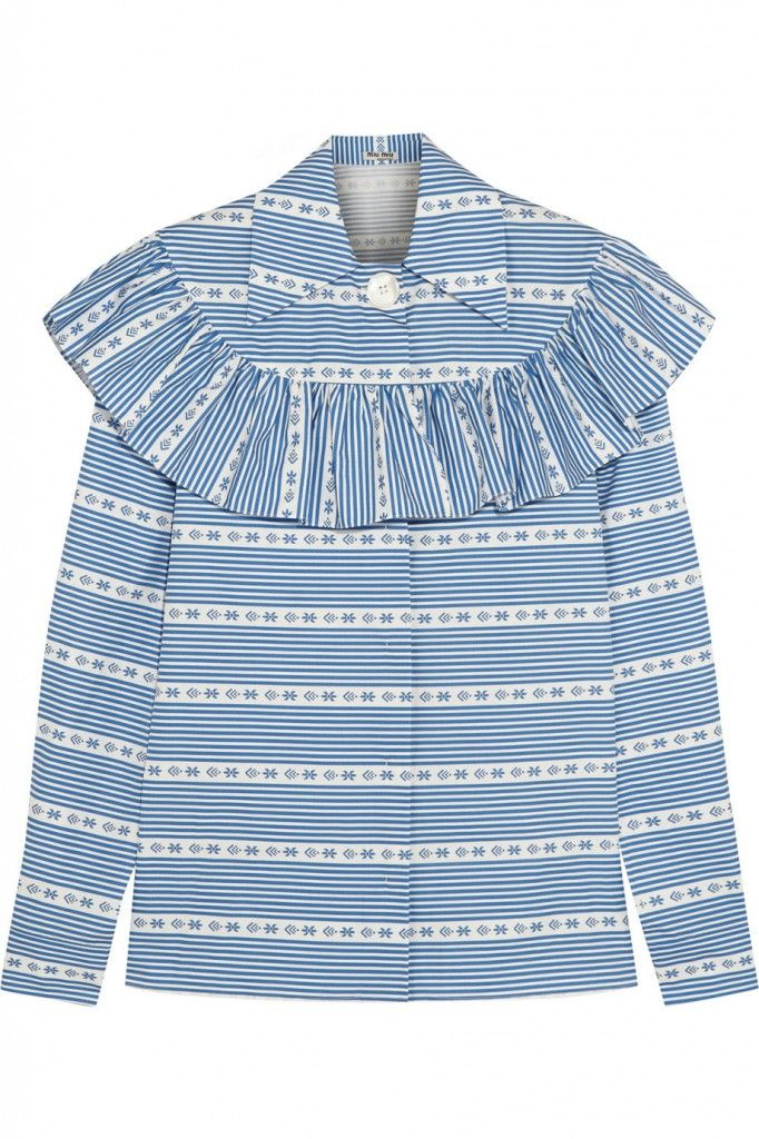 Miu Miu blue and white ruffled cotton-poplin blouse available at NET-A-PORTER