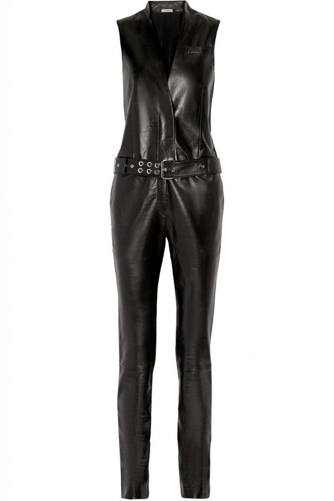 Mugler belted black leather jumpsuit available at NET-A-PORTER