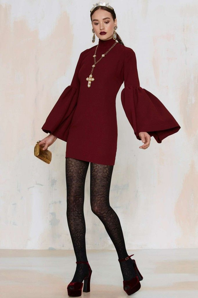 Nasty Gal Kiss and Bell burgundy mini dress available HERE