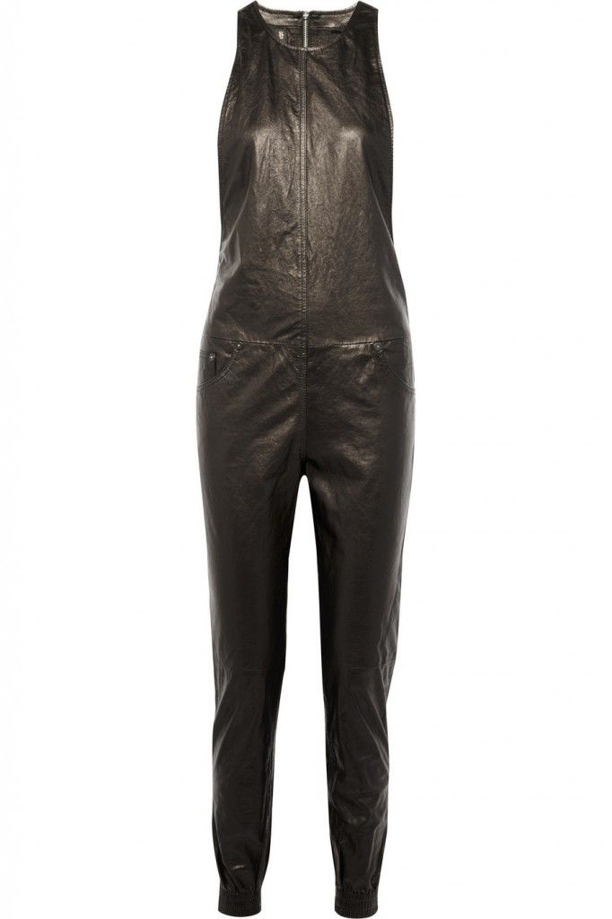 R13 black leather jumpsuit available at NET-A-PORTER