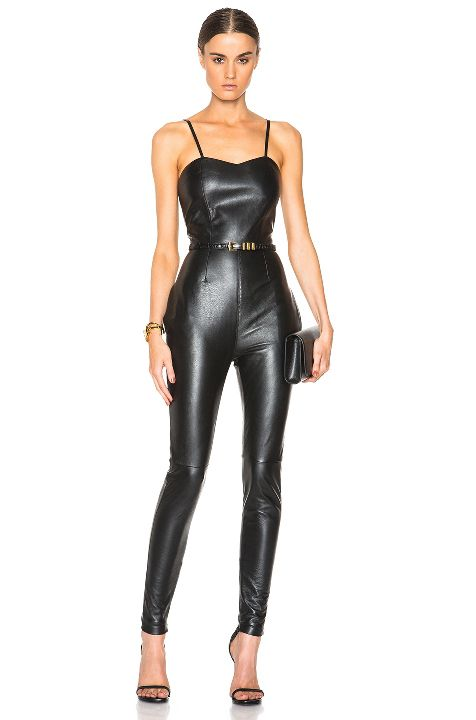 Saint Laurent leather jumpsuit available at FORWARD BY ELYSE WALKER
