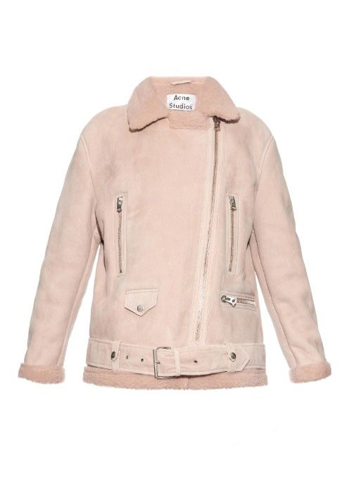 Acne Studios More light-pink shearling long aviator jacket available at MATCHESFASHION.com