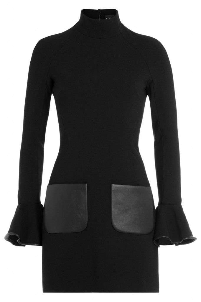 David Koma virgin wool dress with leather available at STYLEBOP.com