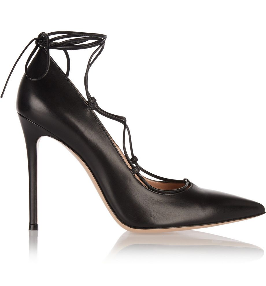 Alexa's black leather lace-up pumps are by Gianvito Rossi and you can buy them from NET-A-PORTER