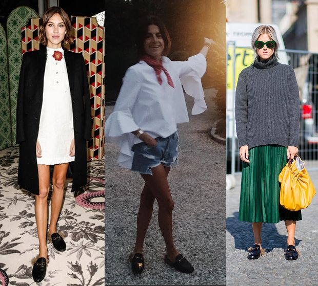 Alexa Chung, Leandra Medine and Linda Tol in Gucci fur-lined and trimmed leather slippers